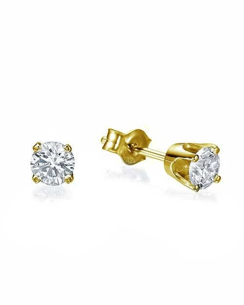 Earrings Classic 4 Prong Push-Back Yellow Gold Diamond Stud Earrings - 0.40 carat