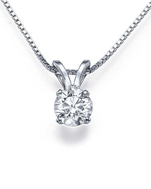 Pendants Classic 4-Prong Solitaire Diamond Solitaire Pendant Necklace in White Gold - 0.50 carat