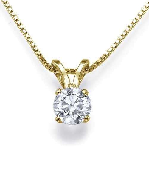 Classic 4-Prong Solitaire Diamond Solitaire Pendant Necklace in Yellow Gold - 0.50 carat - Shiree Odiz