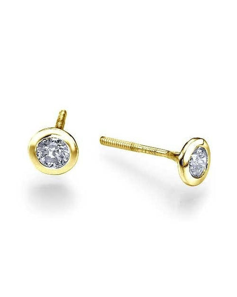 Earrings Classic Bezel Push-Back Yellow Gold Diamond Stud Earrings - 1.00 carat