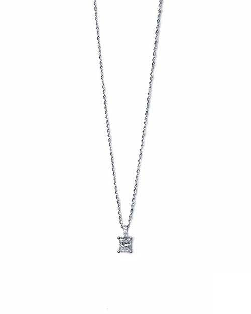 Classic Princess Cut Diamond Solitaire Pendant Necklace - 0.53 carat F/VS2 - Custom Made