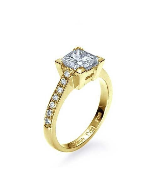 Classic Yellow Gold Engagement Rings - 2 carat Princess Cut Diamond - Custom Made