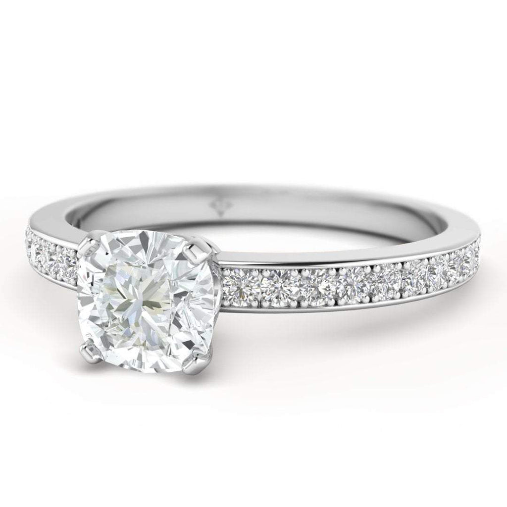 Cushion Cut Diamond Engagement Ring in Platinum with French Pave Accents - Custom Made