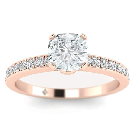 EN Cushion Cut Diamond Engagement Ring in Rose Gold with French Pave Accents
