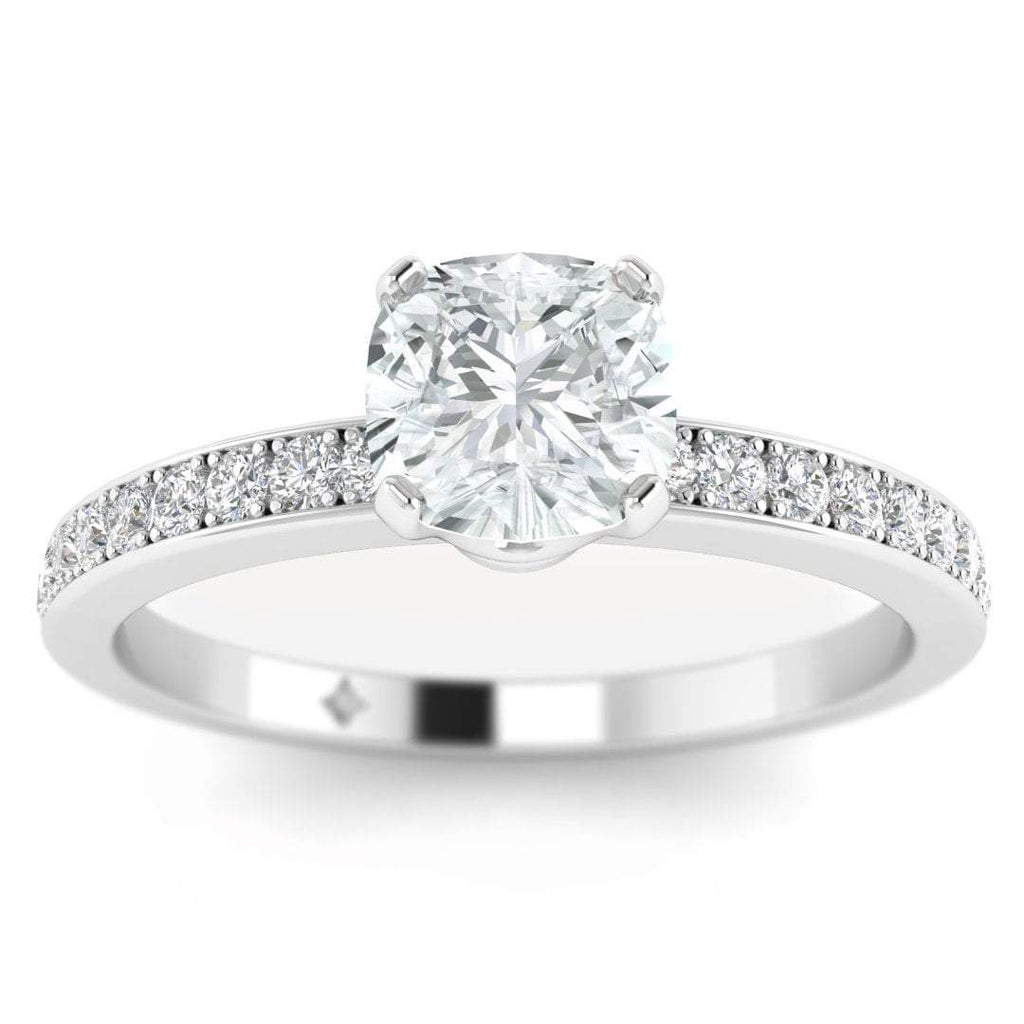 Cushion Cut Diamond Engagement Ring in White Gold with French Pave Accents - Custom Made