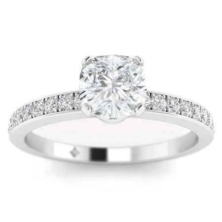 EN Cushion Cut Diamond Engagement Ring in White Gold with French Pave Accents
