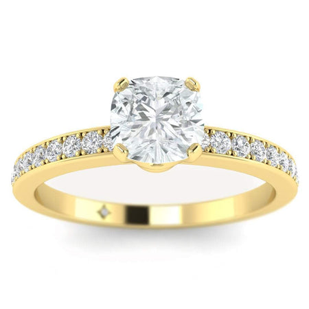 EN Cushion Cut Diamond Engagement Ring in Yellow Gold with French Pave Accents