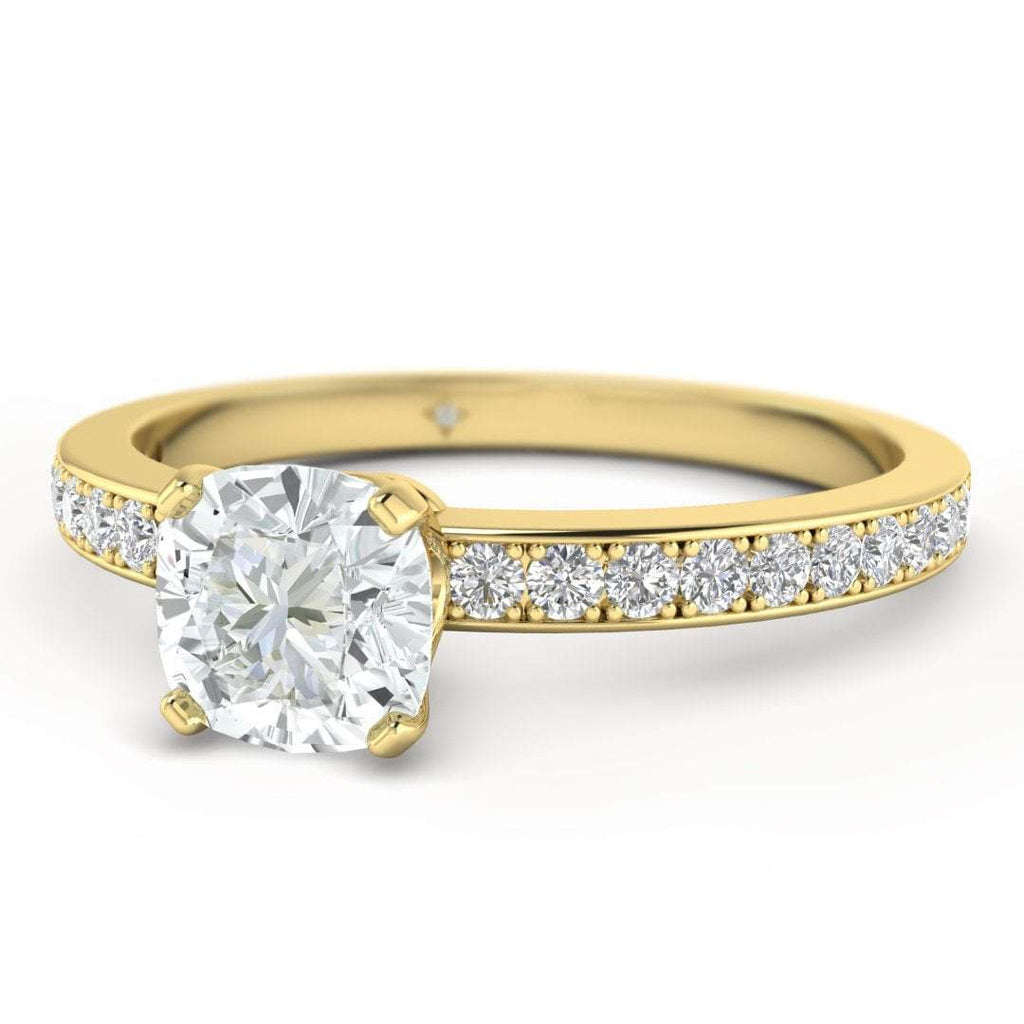 Cushion Cut Diamond Engagement Ring in Yellow Gold with French Pave Accents - Custom Made