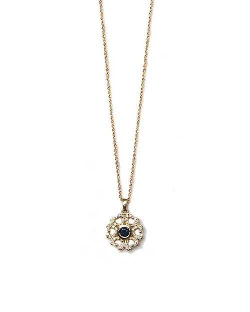 Pendants Dark Blue Sapphire Heart Flower Round Diamond Pendant Necklace - 0.60 carat