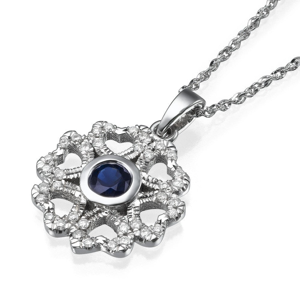 Dark blue sapphire heart flower round diamond pendant necklace pendants dark blue sapphire vintage pendant necklace 060 carat aloadofball Image collections