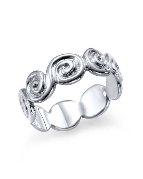 Wedding Rings Designer Spiral Plain White Gold Band Ring