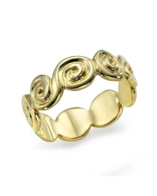 Designer Spiral Plain Yellow Gold Wedding Band Ring - Shiree Odiz