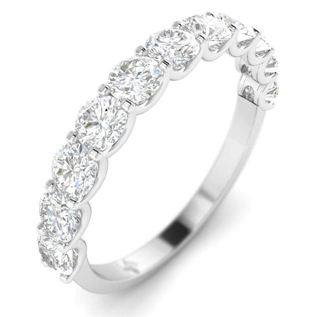 DB-14 Diamond Anniversary Band Ring For Her - 14k White Gold Semi-Eternity