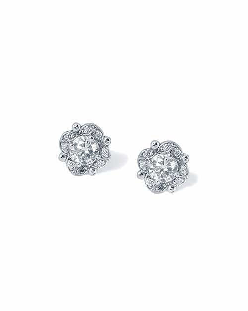 Diamond Antique Vintage Stud Earrings in White Gold - 0.50 carat - Custom Made