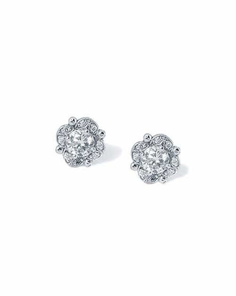 Earrings Diamond Antique Vintage Stud Earrings in White Gold - 0.50 carat