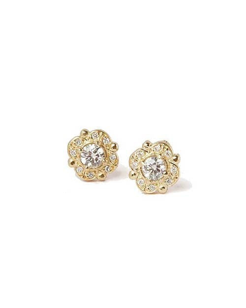 Diamond Antique Vintage Stud Earrings in Yellow Gold - 0.50 carat - Custom Made