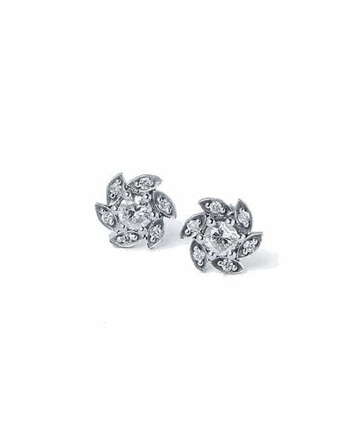 Earrings Diamond Flower Designer Earrings in White Gold - 0.50 carat