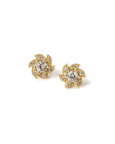 Earrings Diamond Flower Designer Earrings in Yellow Gold - 0.50 carat