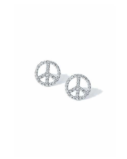 sign cz pin earrings peace stud symbol sterling hippie silver
