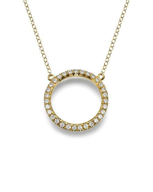 Pendants Fine Jewelry Circle 0.30 carat Diamond Pendant Necklace in Yellow Gold