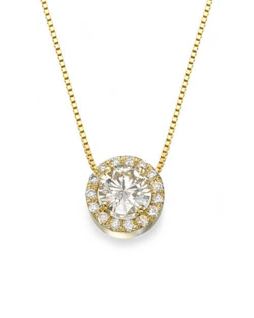 Pendants Fine Jewelry Yellow Gold Halo Round Diamond Pendant Necklace - 'Vintage Rose' Design