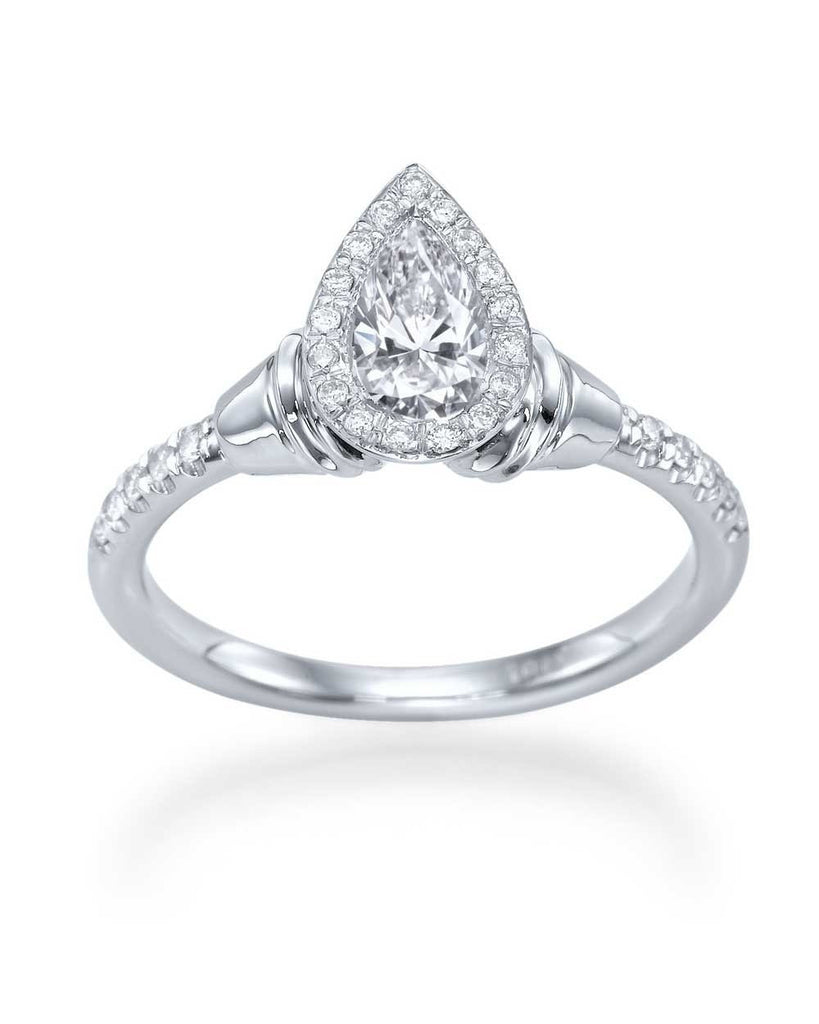 Halo Pear Shaped Antique Vintage Engagement Ring - 0.5ct Diamond - Custom Made