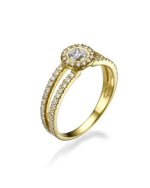 Engagement Rings Halo Split Shank Pave Diamond Rings - 0.3ct Main Diamond in Yellow Gold