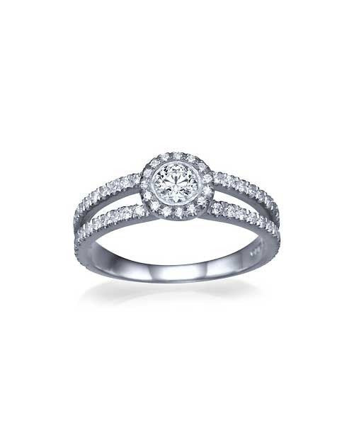 Halo Split Shank Pave Diamond Rings - 0.3ct Main Diamond in Yellow Gold - Custom Made