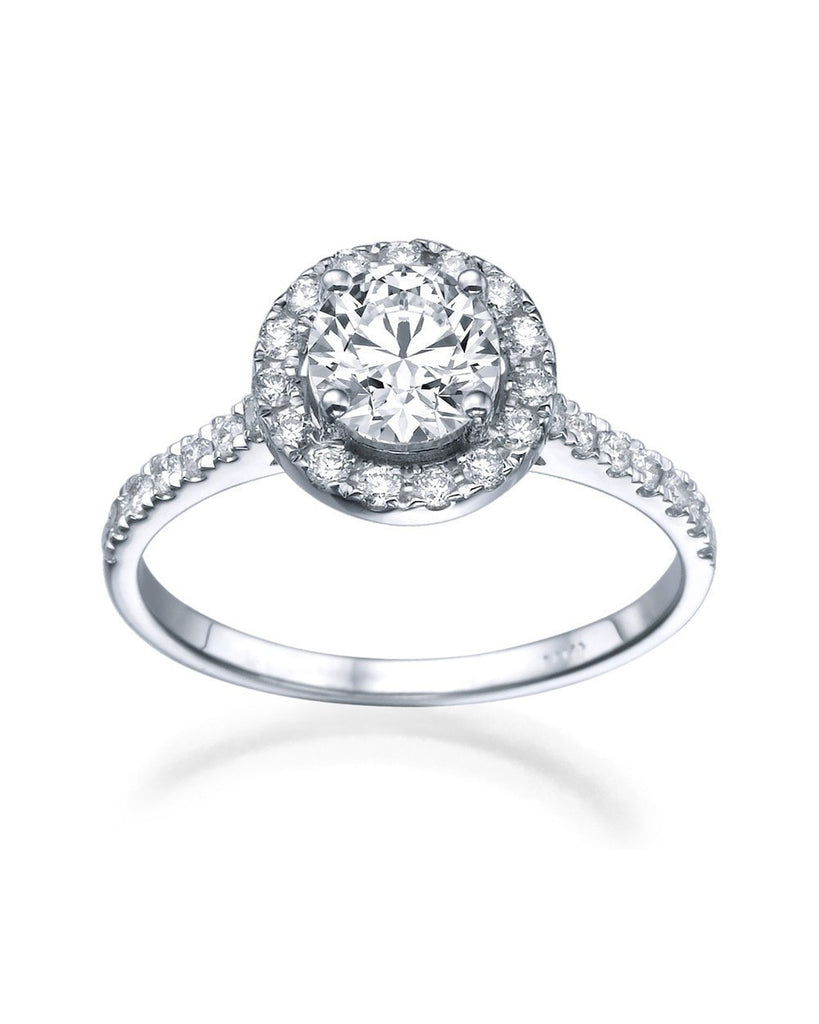 Engagement Rings Halo Vintage Engagement Rings - 1.15 carat E/SI2 Diamonds in Platinum