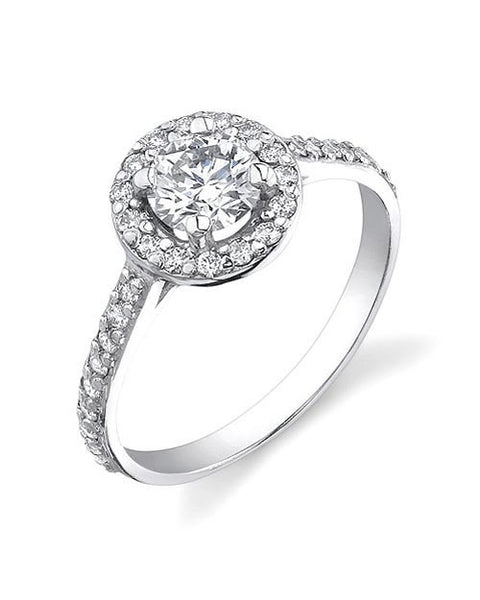 Engagement Rings Halo Vintage Engagement Rings - 1.35 carat F/SI1 Diamonds in 14k White Gold
