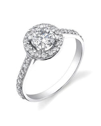 Engagement Rings Halo Vintage Engagement Rings - 1.35 carat F/VS2 Diamonds in 14k White Gold
