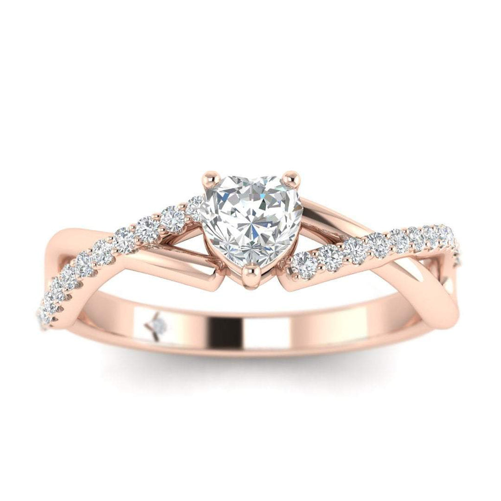 Heart Diamond Twist Pave Engagement Ring in Rose Gold - Custom Made