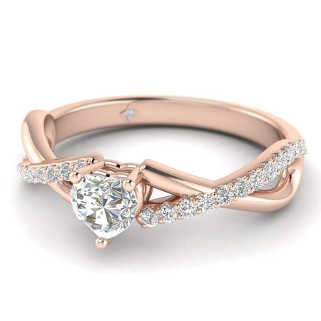 EN Heart Diamond Twist Pave Engagement Ring in Rose Gold