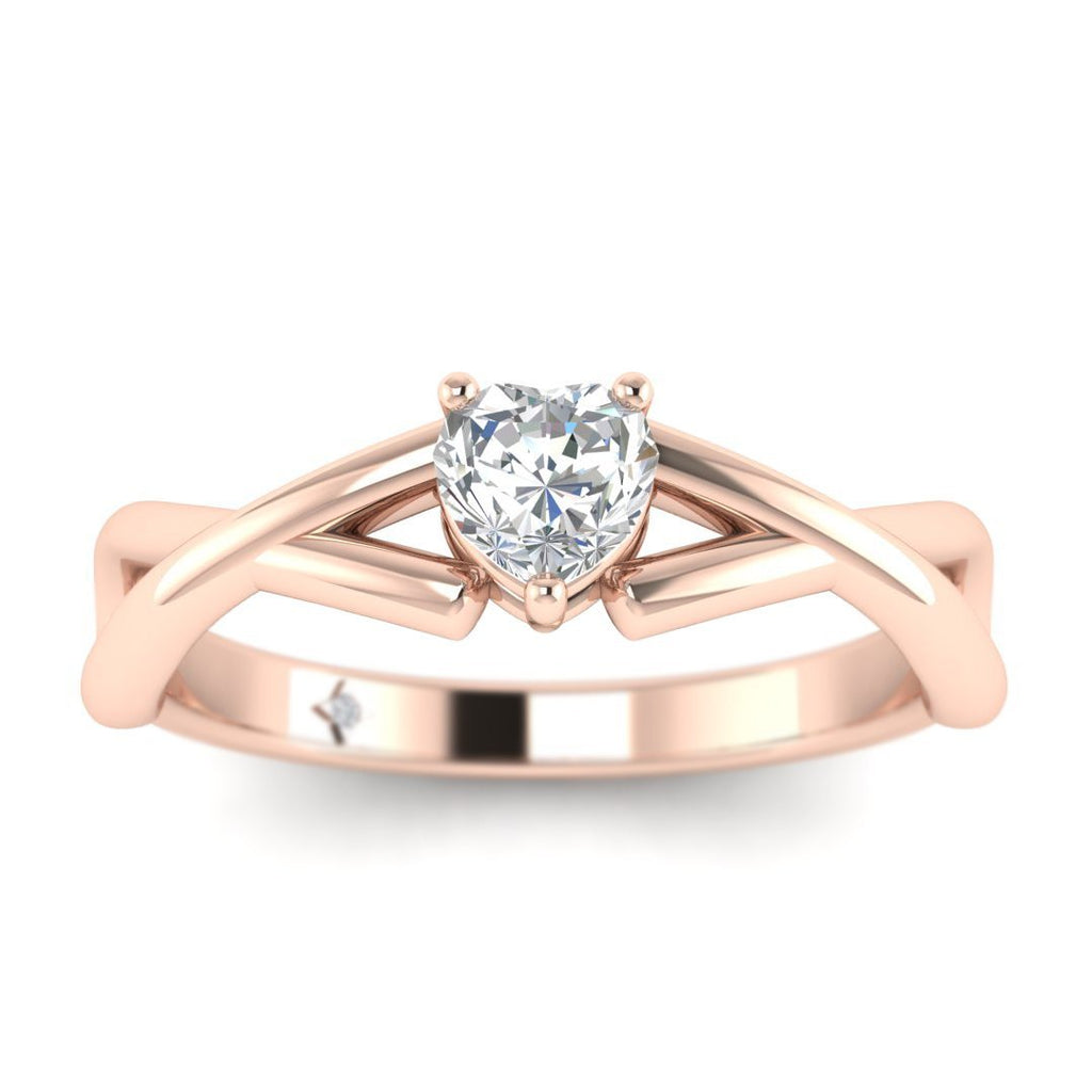 Heart Shaped Diamond Infinity Twist Solitaire Engagement Ring in Rose Gold - Custom Made