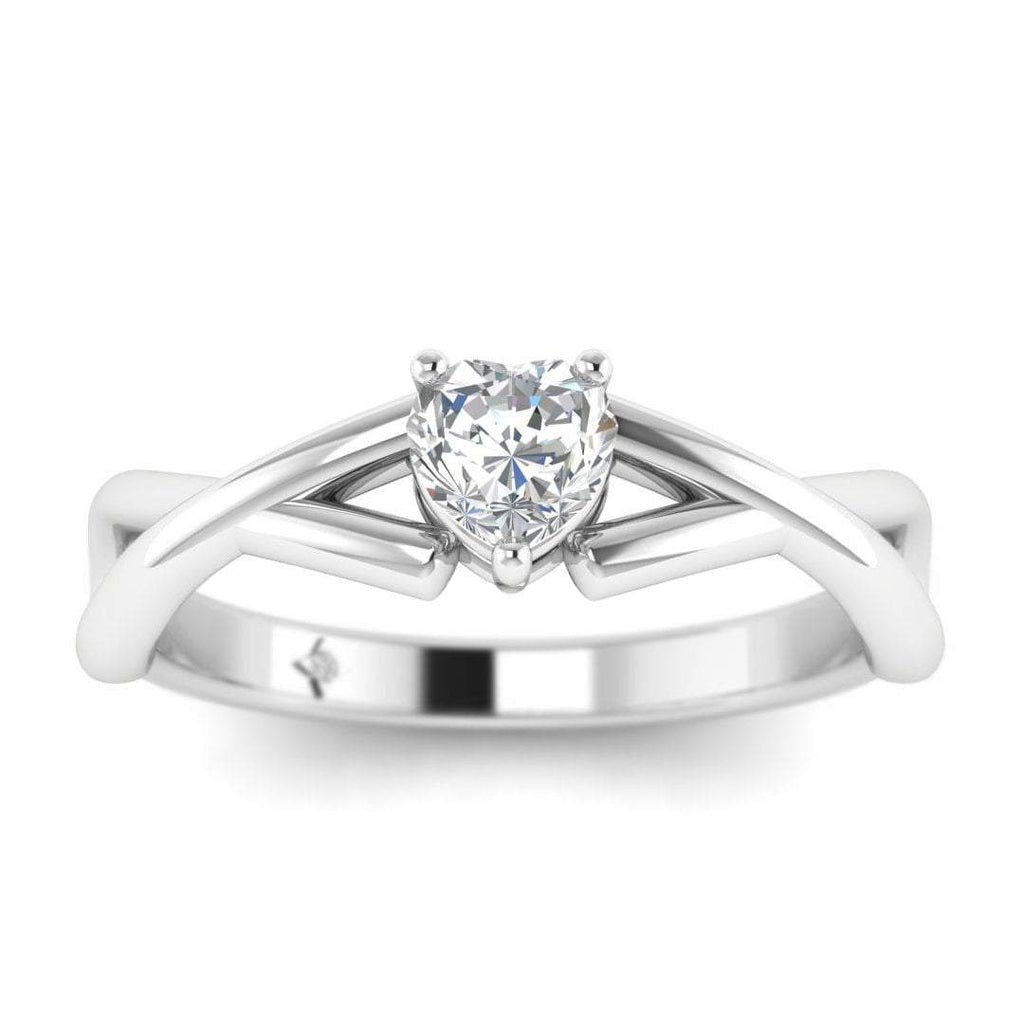 Heart Shaped Diamond Infinity Twist Solitaire Engagement Ring in White Gold - Custom Made