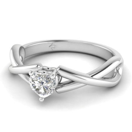EN Heart Shaped Diamond Infinity Twist Solitaire Engagement Ring in White Gold