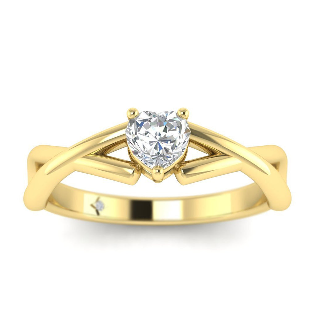 Heart Shaped Diamond Infinity Twist Solitaire Engagement Ring in Yellow Gold - Custom Made