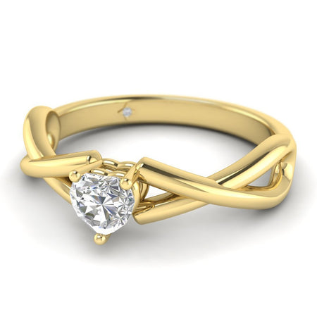 EN Heart Shaped Diamond Infinity Twist Solitaire Engagement Ring in Yellow Gold
