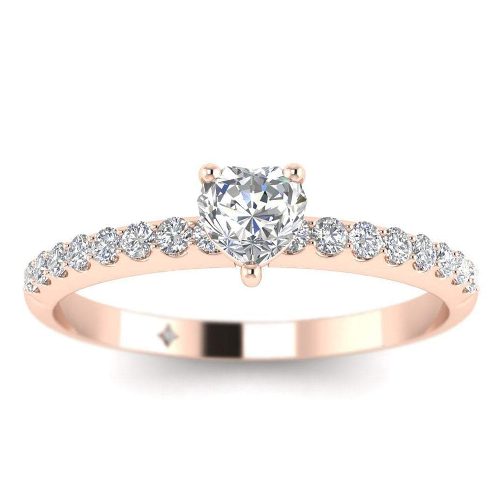 Heart Shaped Diamond Pave Engagement Ring in 14K Rose Gold - 0.25 carat - Custom Made