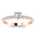 EN-WA-14-NAT-D-SI1-EX Heart Shaped Diamond Pave Engagement Ring in 14K Rose Gold - 0.25 carat