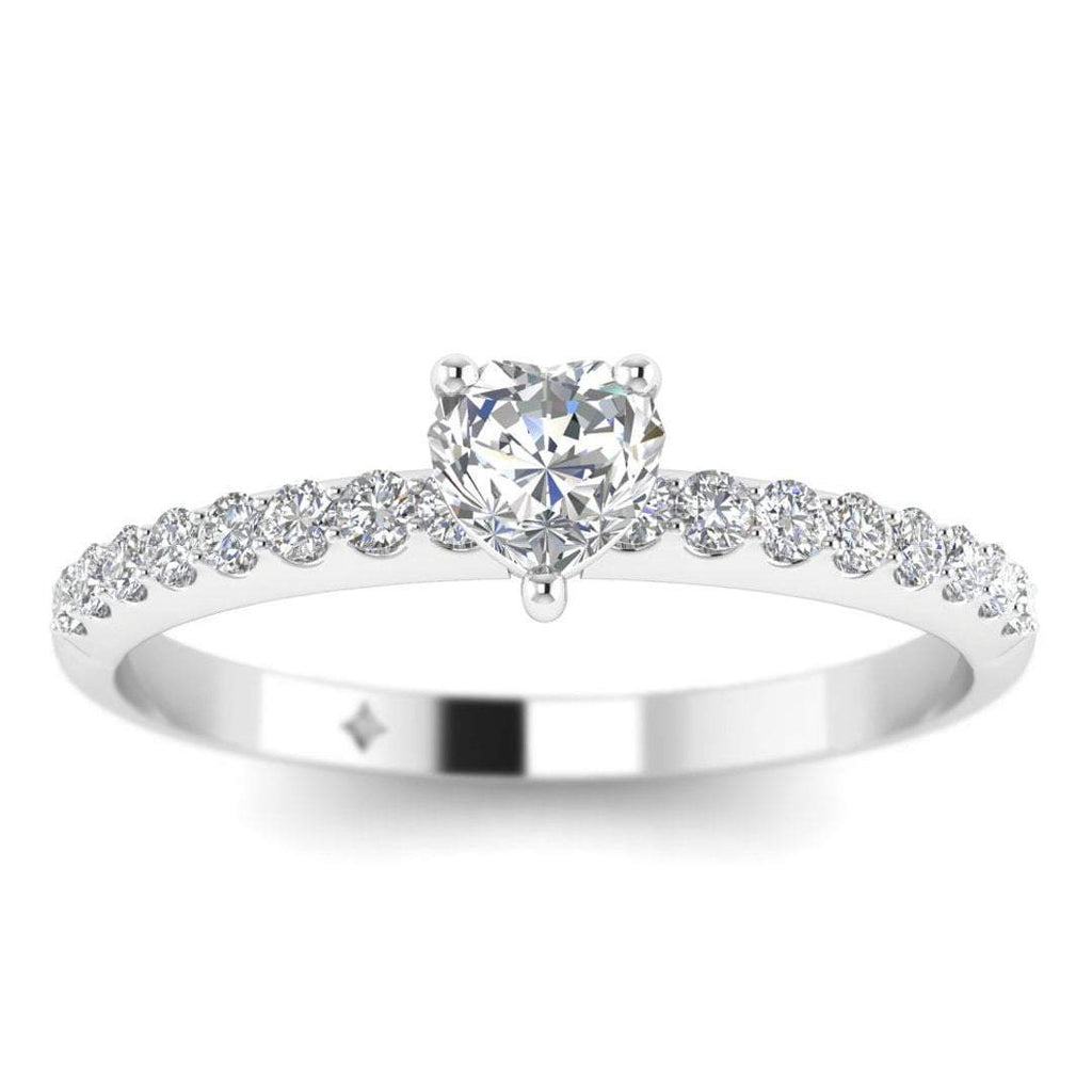 EN-WA-14-NAT-D-SI1-EX Heart Shaped Diamond Pave Engagement Ring in 14K White Gold - 0.40 carat