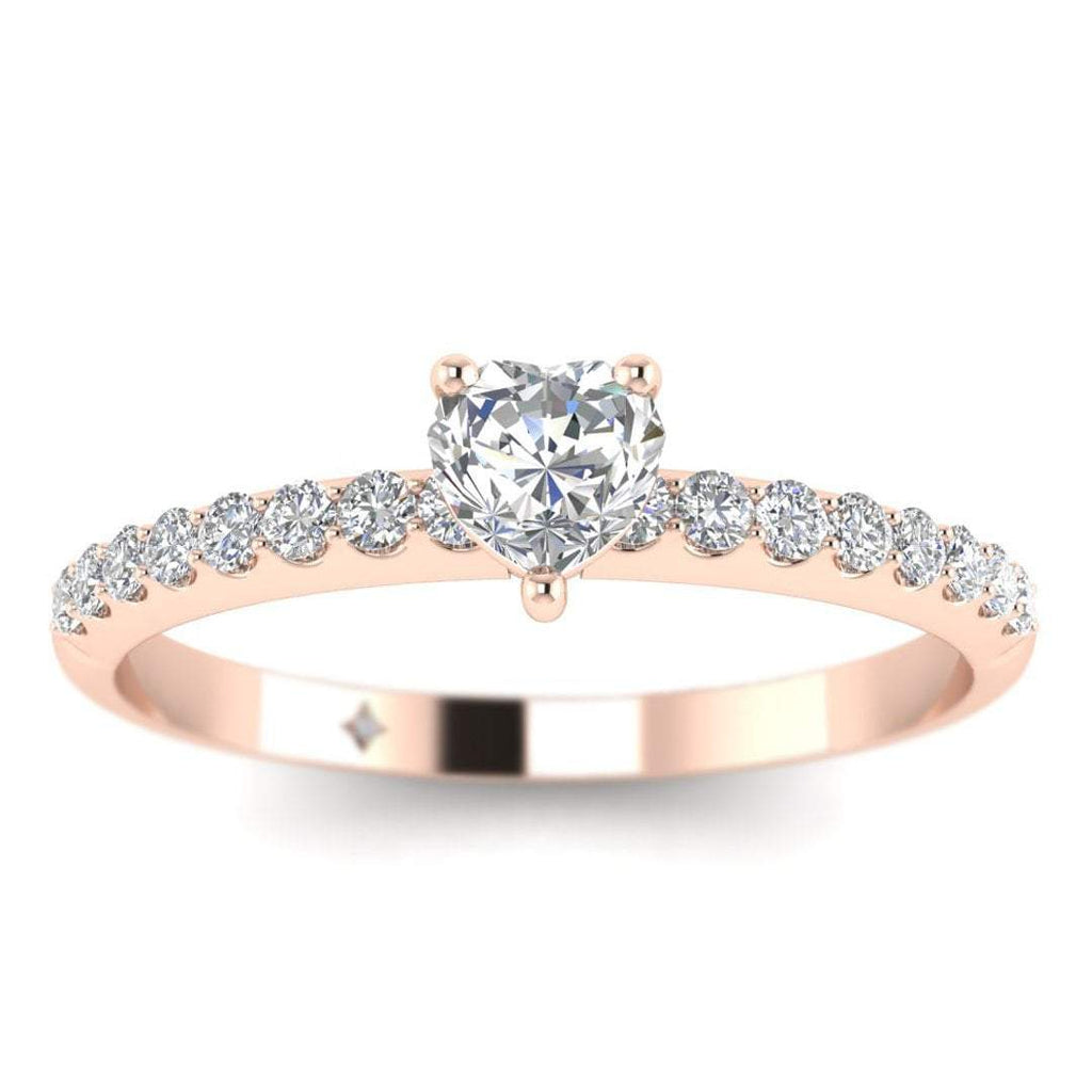 Heart Shaped Diamond Pave Engagement Ring in Rose Gold - Custom Made
