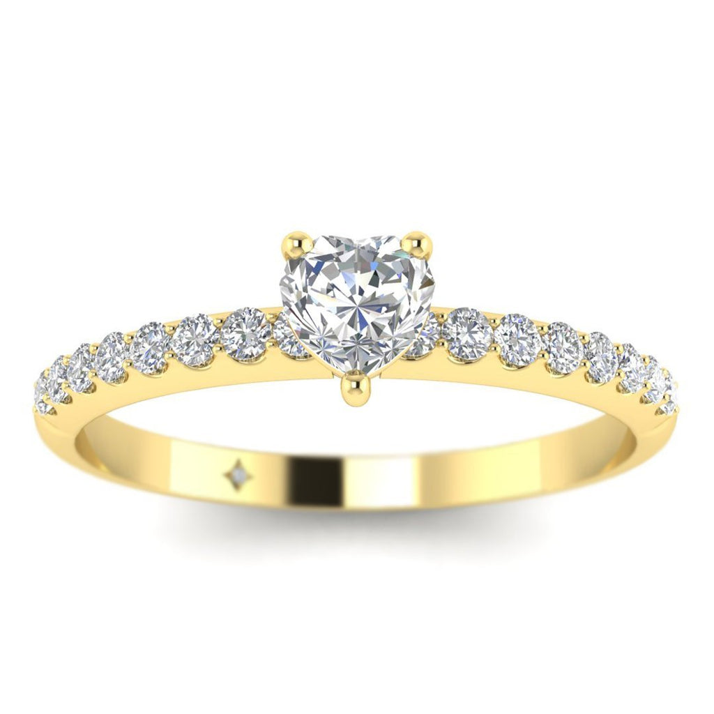Heart Shaped Diamond Pave Engagement Ring in Yellow Gold - Custom Made