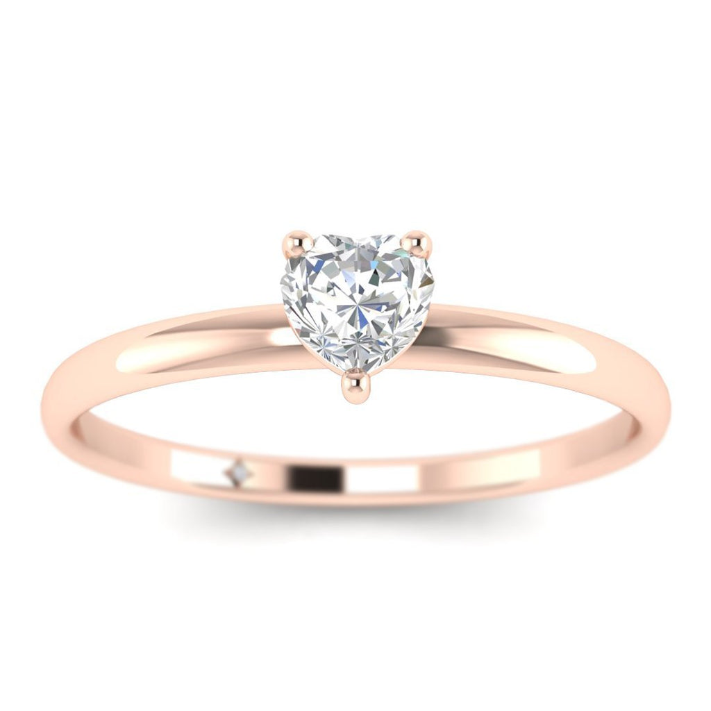 Heart Shaped Diamond Solitaire Engagement Ring in Rose Gold - Custom Made