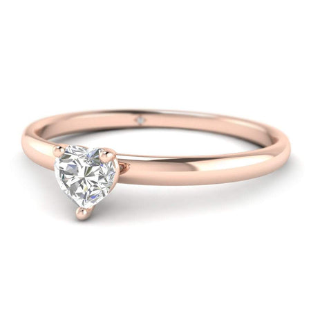 EN Heart Shaped Diamond Solitaire Engagement Ring in Rose Gold