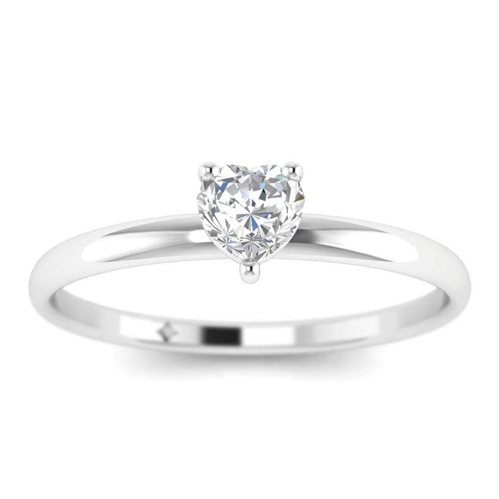 Heart Shaped Diamond Solitaire Engagement Ring in White Gold - Custom Made
