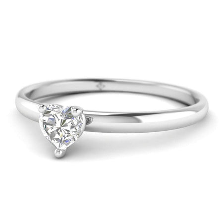 EN Heart Shaped Diamond Solitaire Engagement Ring in White Gold