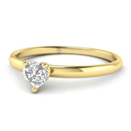 EN Heart Shaped Diamond Solitaire Engagement Ring in Yellow Gold