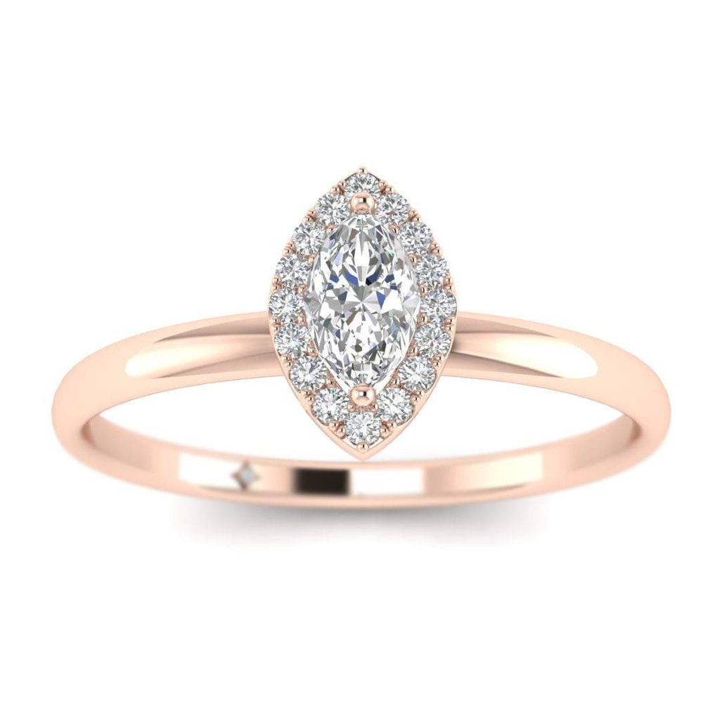 Marquise Diamond Halo Engagement Ring in Rose Gold - Custom Made