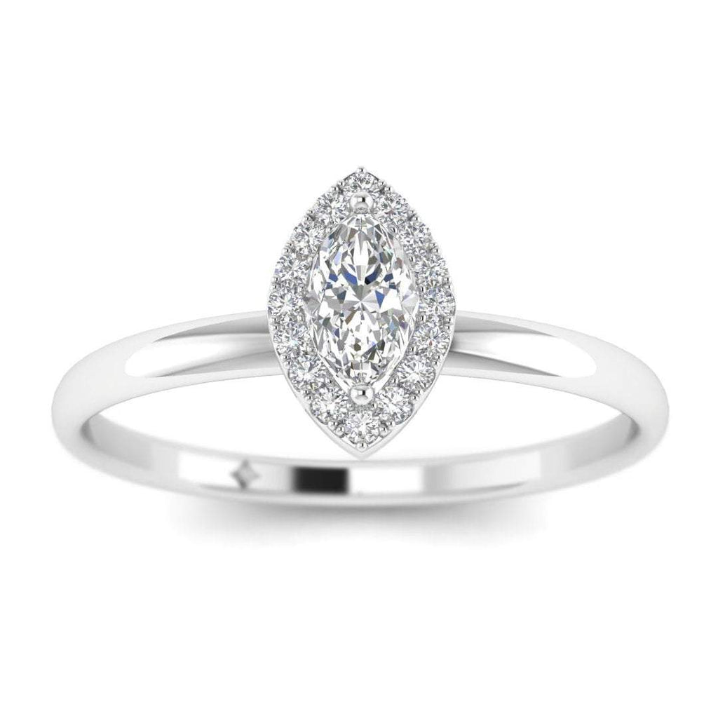 Marquise Diamond Halo Engagement Ring in White Gold - Custom Made